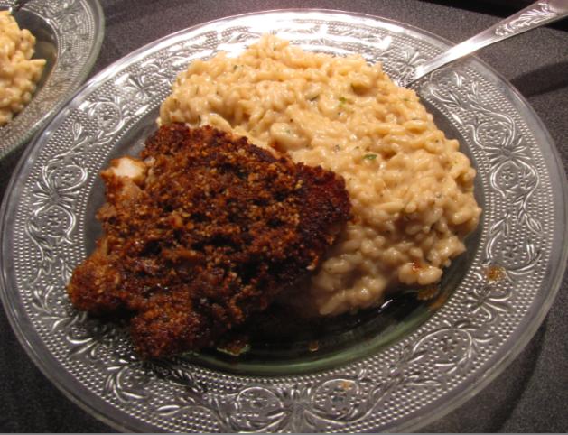 Filet de colin pané au gingembre, à l'huile de sésame et son risotto