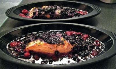 saumon aux framboises et cassis