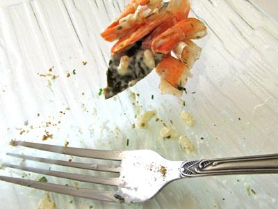 Risotto à la truite fumée et aux crevettes sans lait ni gluten