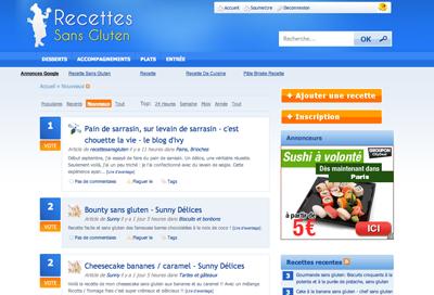 Site communautaire de recettes sans gluten