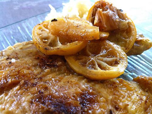 Poulet aux citrons et aux pommes 2