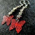 Boucles d'oreilles : Papillons en fleur