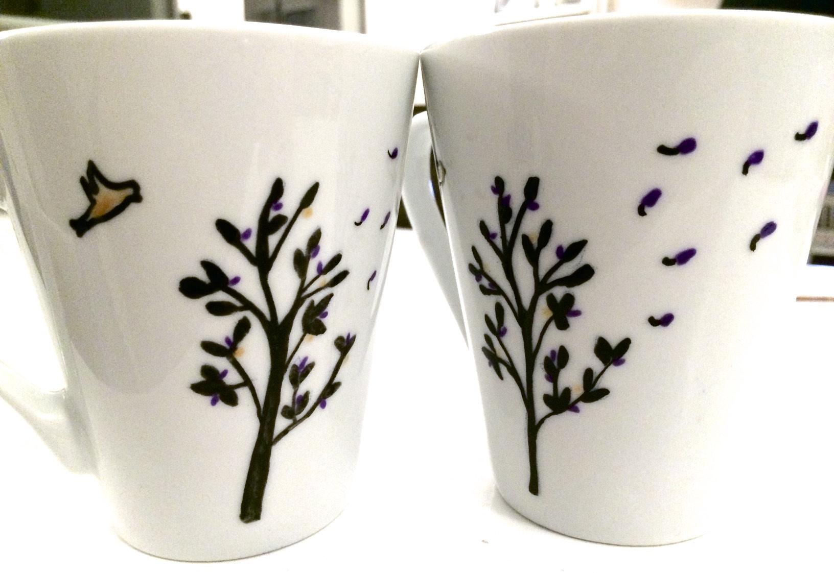 Tasses décorées - peinture porcelaine - avant